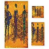 MNSRUU Abstraktes Afrika Retro Vintage Stil Frauen Artwork Handtuch Set für Frauen Mädchen Badetuch Handtücher und Waschlappen saugfähiges Badzubehör