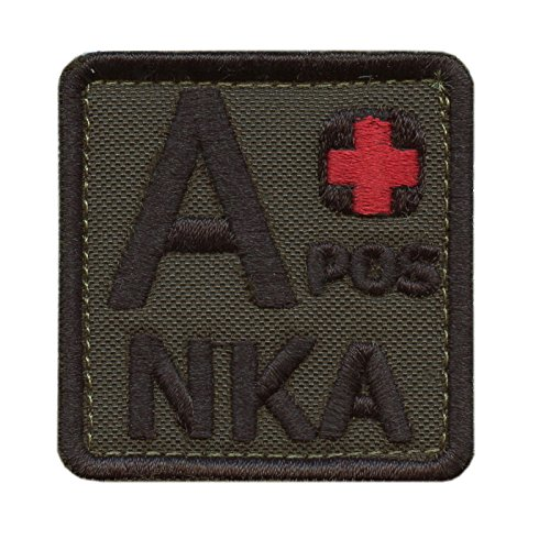Olive Drab A POS A+ NKA Blood Type OD Green Embroidered Fastener Patch