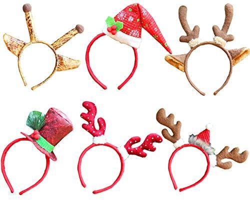 6 pezzi Decorazione natalizia Reindeer Antlers Fascia per adulti e bambini da ottobre Elf (Pacchetto di 6, J)