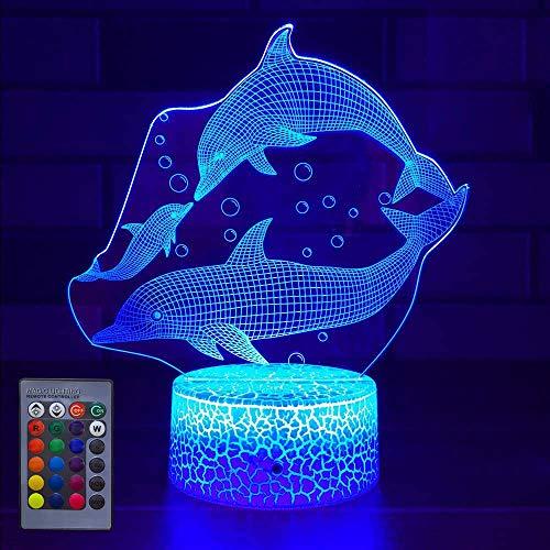 DCLINA 3D Delphin Nachtlicht Lampe Fernbedienung Touch Schalter 7/16 Farben ändern USB Powered LED Dekor Optische Täuschung 3D Lampe Kinder Kinder Spielzeug Weihnachten Weihnachten Brithday Gift
