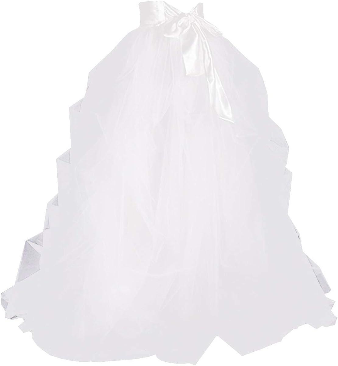 WDPL Women's High Waist Split Ruffles Long Evening Night Out Tulle Skirt Satin Waistband