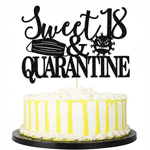 PALASASA Black Glittery Sweet 18 & Quarantined Cake Topper- Social Distancing Birthday Party Supplies,18th Quarantined Birthday Party Decorations