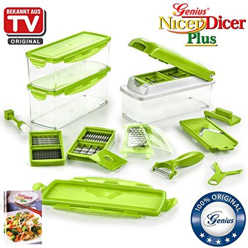 Genius Nicer Dicer Plus | Kiwi-Grün | 18 Teile | Schneiden | Hobeln | Reiben | Schälen | Würfeln | Schneiden | Aufbewahren | Obst- und Gemüseschneider | Bekannt aus TV | NEU