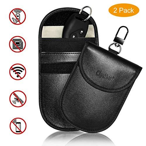 2X Keyless Go Schutz Autoschlüssel,CigaMaTe Signal Blocker Tasche für Schlüsselbund,PU Leder Strahlenschutz Abschirmung Blocking Faraday Handy Abhörschutz RFID/NFC/WLAN/GSM/LTE