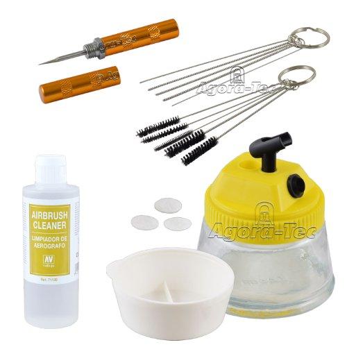 Agora-Tec® AT- Airbrush-CLEAN-Reinigungs Zubehör-Set bestehend aus Cleaning Pot, 5 Reinigungsbürsten, 5 Reinigungsnadeln, Reamer & 200ml Vallejo Airbrush Cleaner