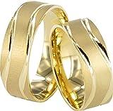 JC Trauringe Gold 585 Paarpreis Matt I Eheringe breit 6,5 mm I Partnerringe Gelbgold mit Gravur in edler Schatulle I 2 Hochzeitsringe...