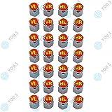 YOU.S Alluminio Coperture Valvole con Guarnizione con Marcatura Pneumatico Rosso Giallo Valvola Taglio Copertura per Auto Veicoli Camion (7 Serie)