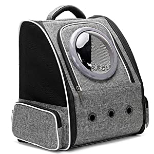 Cat Carry Backpack Carrier, Space Capsule Bubble Pet Carrier Backpack for Small Dog and Puppy, Dog Backpack Carrier for Travel and Hiking, Airline Approved (Grey)