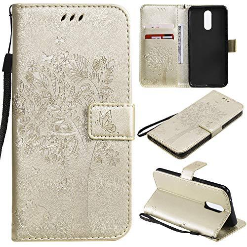 Nancen Compatible with Handyhülle LG K40 / K12 Plus Hülle, Flip-Hülle Handytasche - Standfunktion Brieftasche & Kartenfächern - Baum & Katze - White Gold