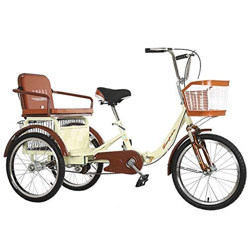 ZFF Tricicli per Adulti 20 Pollici Biciclette A 3 Ruote Trike Cruise con Cestino di Acquisto E Sedile Posteriore Forcella Ammortizzata per Gli Anziani Donne Uomini (Color : Beige)