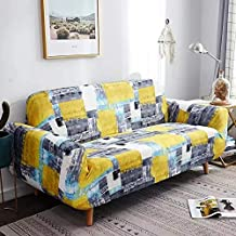 House of Quirk Universal Single Seater Sofa Cover Big Elasticity Cover for Couch Flexible Stretch Sofa Slipcover - Yellow Grey(90-145cm)