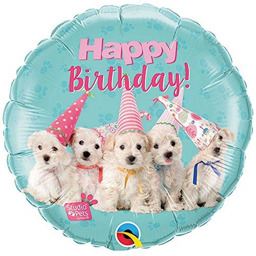 Qualatex - Globo redondo de aluminio diseño Happy Birthday con cachorros para cumpleaños