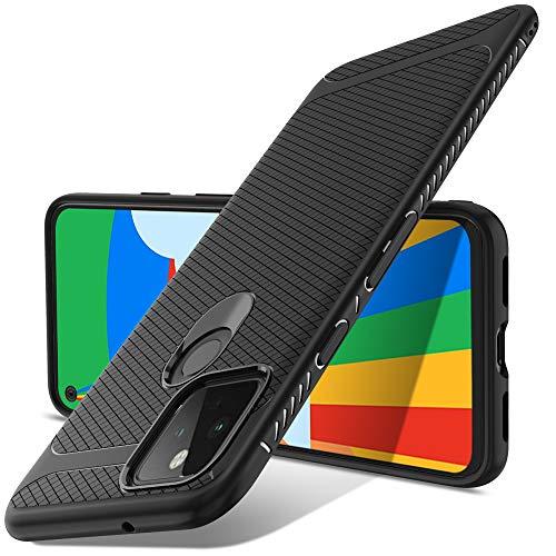 Luibor Coque Google Pixel 5, Noir Coque givré Silicone Ultra