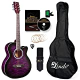 Lindo Standard Amethyst Purple Acoustic Guitar and Accessory Pack (Gigbag, Clip-on Tuner, DVD, Strap, Plectrum, Set of Strings)