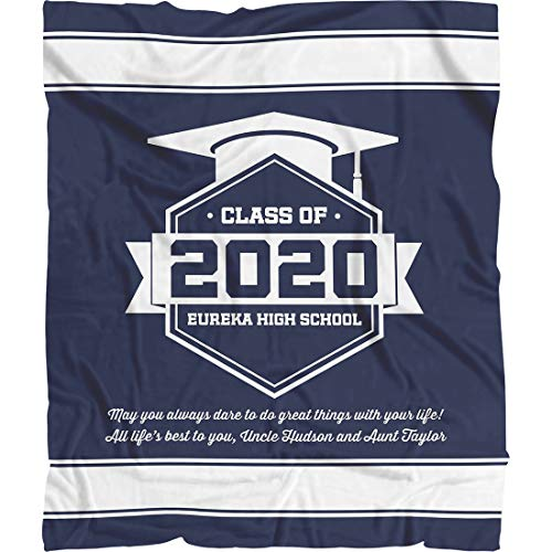 """Personalized Cap Graduation Blanket, Custom Class Year Congratulations Decorations Gift For Him Her Men Women. Phd Doctoral College Graduation Gifts For Cousin Best Friend (Navy White, Fleece 50""""x60"""")"""