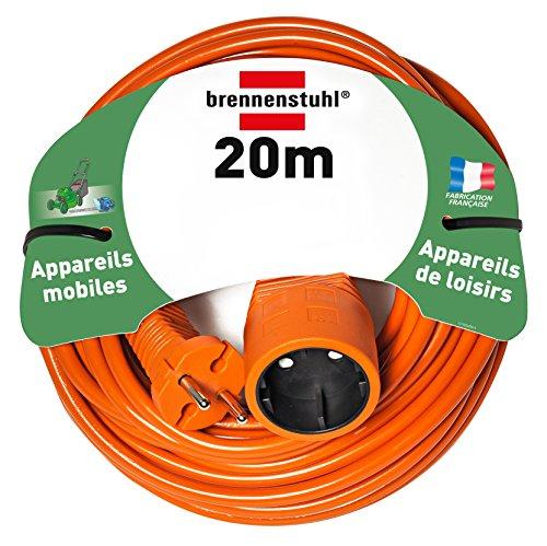Brennenstuhl rallonge électrique 20m (câble H05VV-F 2x1,5, Orange), Fabrication Française