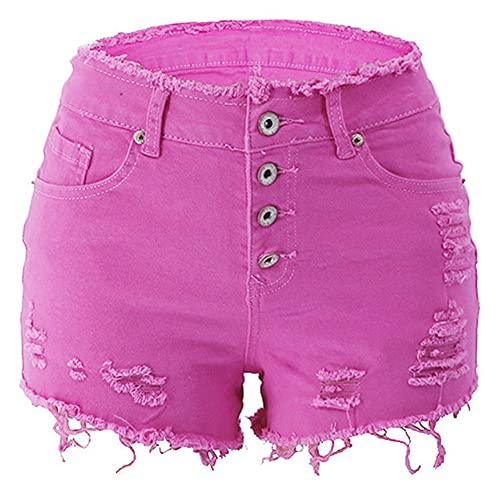 N\P Verano de las mujeres ocasionales rasgados pantalones cortos de mezclilla de cintura alta color sólido pantalones cortos retro