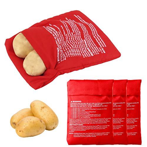 INHEMING Set de 4 Bolsa para Patatas En Microondas, Lavable y Reutilizable,Patatas Sólo en 4-6 Minutos- Rojo