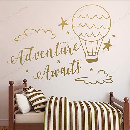 ganlanshu Dekoration Abenteuer warten wandaufkleber Luftballon Wolken vinyltapete kinderzimmer wandbild Poster 102 cm X 138 cm