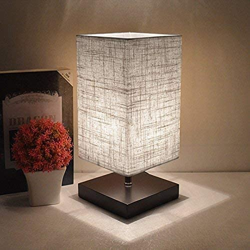 Grey Square Bedside Table Lamp with Linen Fabric Shade and Solid Wood. Nightstand Lamp (3000K Warm White) for Bedroom, Living Room Modern,Coffee Table, Office, Kids. (4W E27 Bulb Include)