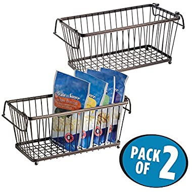mDesign Household Stackable Wire Storage Organizer Bin Basket with Built-In Handles for Kitchen Cabinets, Pantry, Closets, Bedrooms, Bathrooms – 12 , Pack of 2, Steel in Durable Bronze Finish