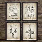 Planos de patentes de barbero, carteles antiguos, impresiones en lienzo, brocha de afeitar, tijeras, poste de barbero, decoración de barbería 50x70cmx4pcs sin marco
