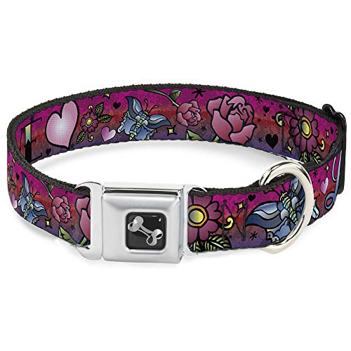 Dog Collar Seatbelt Buckle Love Love Pink 9 to 15 Inches 1.0 Inch Wide, DC-W31213-S