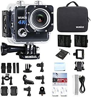 """Action Camera,Wimius 4K WiFi Waterproof Sport Camera FPV Camcorder Waterproof 30M 170 Wide Angle 2"""" LCD Lens 2 pcs Rechargeable Batteries with Carrying Case and Kit of Accessories(L1-Black)"""