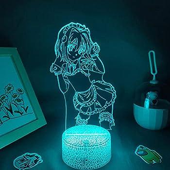 LLRRJJ 3D Illusion Lamp Night Light High School DxD Anime Figure Toujou Koneko Waifu Lamps LED Neon RGB Lovely Bedroom Table Decoration with Remote