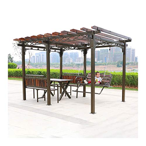 HLZY Garden Furniture Gazebo Wooden Garden Gazebo, Patio Pavilion, Villa Garden Gazebo Grape Rack, with Swing Chair and Desk, for Garden, Patio, Lawns, Parties Outdoor Canopy