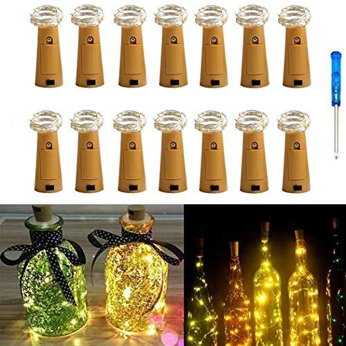 Flaschenbeleuchtung, String Lights mit Schraubendreher Weinflasche Glasdekor DIY Lights for Party Geburtstag Weihnachten Hochzeit Tischdekor 14er Pack(Warm Weiß)