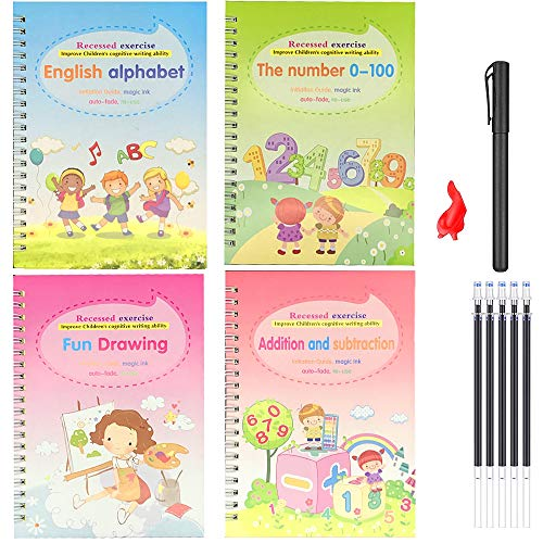 4pcs Magic Practice Copybook for Kids - The Print Handwiriting Workbook-Reusable Writing Practice Book (Alphabet Book with Pen) (Exercise Book Two)