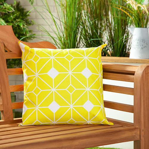 Tangiers Yellow Water Resistant Canvas Outdoor Scatter Garden Filled Cushion Printed 18' (45cm)