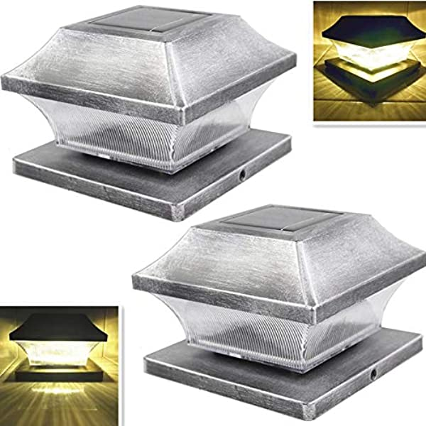 Solar Post Cap Lights Outdoor 5 Root Vinyl Silver Lantern For 4x4 5x5 Wood Or PVC Posts Bright 15 Lumens Fence Light Warm White LED Deck Lighting Waterproof Porch Caps Lamp Dusk To Dawn 2Pack