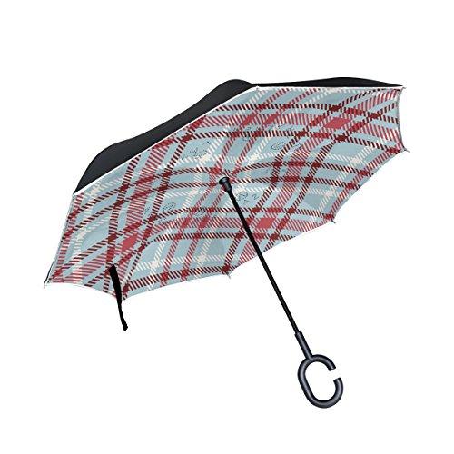 MyDaily Double Layer seitenverkehrt Regenschirm Cars Rückseite Regenschirm Gingham Kariert Plaid Winddicht UV Proof Reisen Outdoor Regenschirm