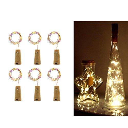 Taottao 6 pcs en liège en forme de LED Lumière de nuit étoilée lumière lampe Bouteille de Vin pour décoration de fête 10 cm multicolore