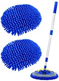 Conliwell 2 in 1 Car Wash Brush Mop Mitt Kit, Car Cleaning Kit Brush Duster, 45' Aluminum Alloy Long Handle, 2Pcs Chenille Microfiber Mop Heads, Extension Pole, Scratch Free Car Cleaning Tool Supplies
