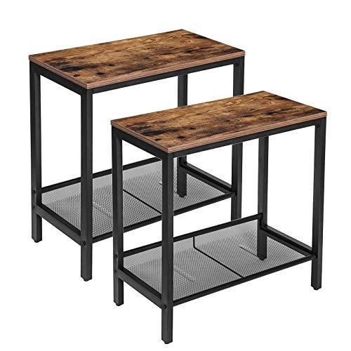 HOOBRO Beistelltisch Set, 2er-Sofatisch, schhmaler Nachttisch mit Verstellbarer Gitterablage, für kleine Räume, Metallrahmen, industrieller Stil, stabil, leicht zu montieren,Vintage EBF24BZ01