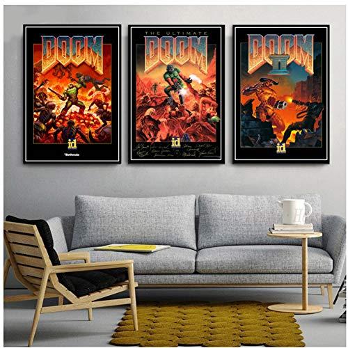 A&D Format Poster Classic Halo Videospiele The Ultimate Doom Wandkunst Leinwand Gemälde Bilder Für -50x70cm ungerahmt