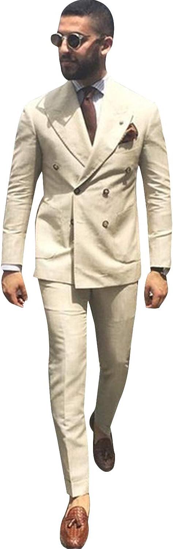 P&G Men's Suit DoubleBreasted Jacket+Pants NotchLapel Wedding