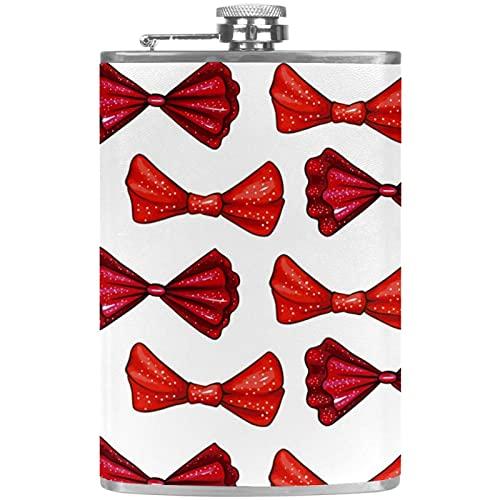 Petacas de Alcohol Corbata de Lazo de Color Rojo Petaca 227ml Acero Inoxidable para Whisky Vodka Alcohol líquido con embudos para Hombres y Mujeres 9.2x15cm