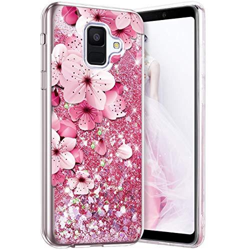 Compatible avec Samsung Galaxy A6 2018 Rose Coque Silicone Glitter Etoiles Paillette Liquide Scintillantes Brillant Transparent Motif Coque Souple Anti Choc Housse Etui de Protection,Fleur de cerisier