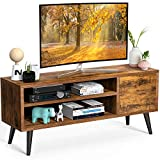 TV Console Table with Storage for TVs up to 55 Inch, Retro TV Stand for Media Cable Box Gaming Consoles, Mid Century...
