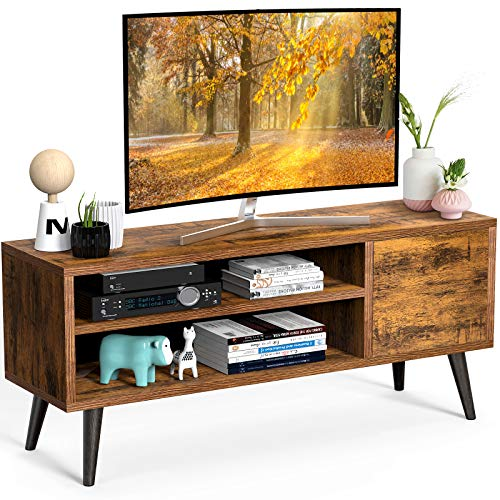 TV Console Table with Storage for TVs up to 55 Inch, Retro TV Stand for Media Cable Box Gaming Consoles, Mid Century Modern TV Stand & Entertainment Center Wood TV Stand for Living Room Office Bedroom