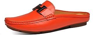 Leather sandals Beach Shoes Men's flip-Flops Outdoor Sports Shoes wear-Resistant Non-Slip Golf Shoes (Color : Orange, Size : 40/US8.5)