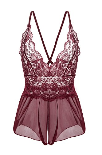Yidarton Damen Nachtkleid Sexy Babydoll Dessous Set Erotik Lingerie V-Ausschnitt Kleid Spitze Unterwäsche (L, Rot)