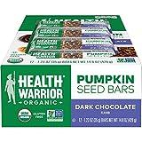 Health Warrior Pumpkin Seed Protein Bars, Dark Chocolate, 8g Plant Protein, Gluten Free, Certified Organic, 12 Count