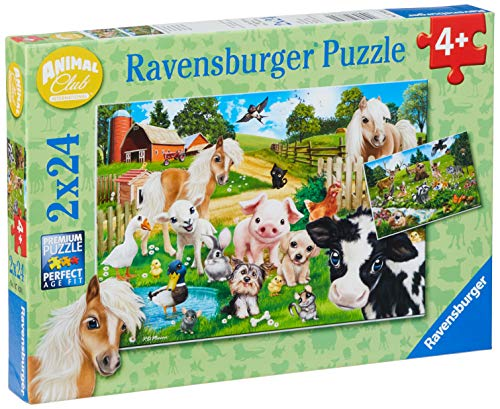 Ravensburger- Animal Club Puzzle 2X24 Pezzi, 7830