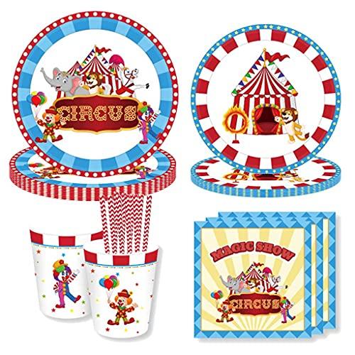 Amycute Juego de 69 piezas para fiesta de cumpleaños con circo, platos, vasos, servilletas, decoración de mesa para 8 personas.