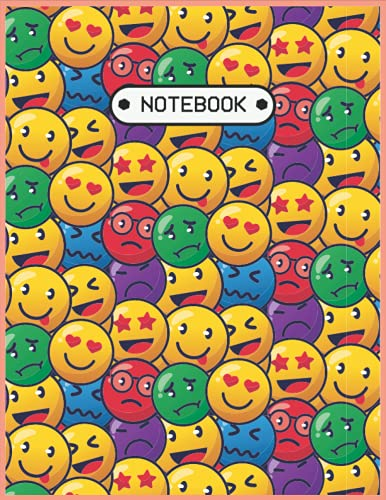 Notebook: Lined Notebook Journal (College Ruled Paper) - Colorful Faces Smile Emoticons - 120 Pages - 8.5 x 11 inches (Letter size)